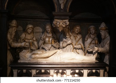 Brussels, Belgium - December 8, 2017: Anointment of Jesus in the tomb from St. Michael and St. Gudula Cathedral