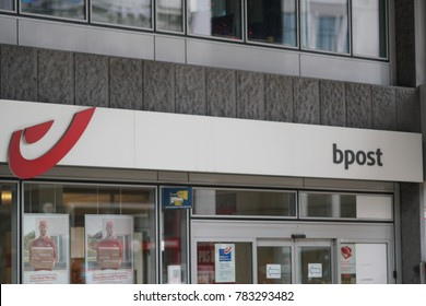 Brussels, Belgium - December 9, 2017: Bpost Bank branch exterior and logo. It is a Belgian bank and began in 1995