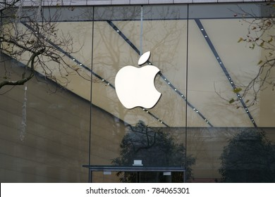 Brussels, Belgium - December 9, 2017: Apple store. Apple is an American multinational technology company headquartered in Cupertino, California, that designs, develops, and sells consumer electronics