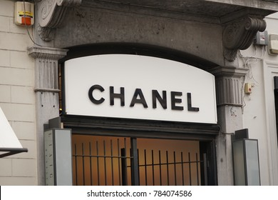 Brussels, Belgium - December 9, 2017: Chanel store windows. Chanel S.A. is a French, privately held company