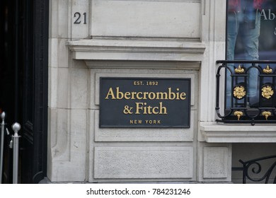 Brussels, Belgium - December 9, 2017: Abercrombie and Fitch store. Abercrombie & Fitch is an American retailer that focuses on upscale casual wear for young consumers