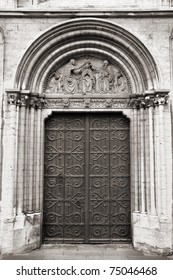 Brussels, Belgium - door to Notre Dame de la Chapelle church (Kapellekerk)