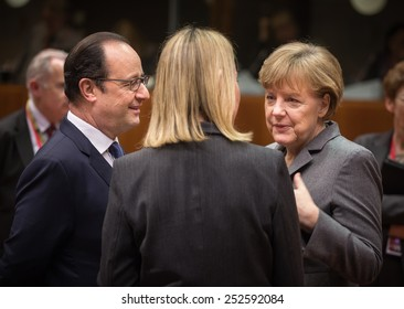 BRUSSELS, BELGIUM - Feb 12, 2015: Chancellor of the Federal Republic of Germany Angela Merkel and French President Francois Hollande at the informal EU summit in Brussels (Belgium)