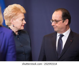 BRUSSELS, BELGIUM - Feb 12, 2015: Lithuanian President Dalia Grybauskaite and French President Francois Hollande  at the informal EU summit in Brussels (Belgium)