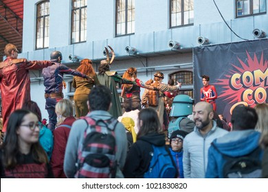Brussels, Belgium - February 10 2018:  Costumed visitors to Comicon dance the Macarena.