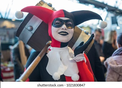 Brussels, Belgium - February 10 2018: An attendee to Comicon dressed as Harley Quinn.