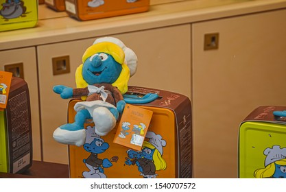 Brussels, Belgium, February 19, 2016 Smurf as souvenir in the shop