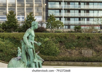 BRUSSELS, BELGIUM - FEBRUARY 2, 2017: Statues in Botanical Garden of Brussels.