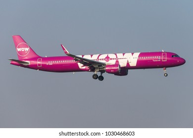 BRUSSELS, BELGIUM - FEBRUARY 21, 2018: A WOW air Airbus A321-200 (TF-DAD) is landing at Brussels airport on February 21, 2018. WOW air is an Icelandic low-cost carrier.