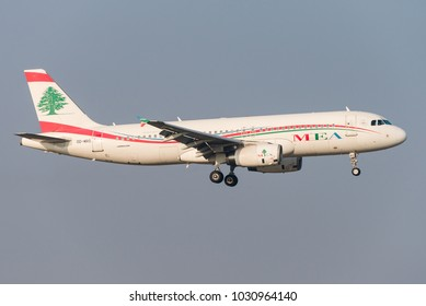 BRUSSELS, BELGIUM - FEBRUARY 21, 2018: A Middle East Airlines (MEA) Airbus A320 is landing at Brussels airport on February 21, 2018. MEA is the national flag-carrier airline of Lebanon.