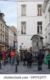 Brussels, Belgium - February 24, 2017: Manneken Pis in Brussels, Belgium. The original bronze statue was created by Jerome Duquesnoy, 1619.