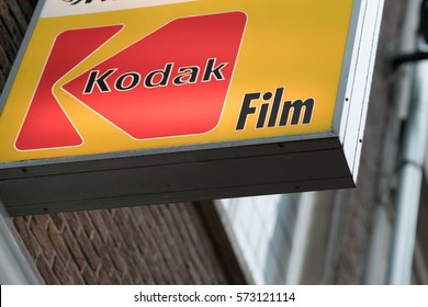 Brussels, Belgium - February 5, 2017: Kodak sign on building exterior. Eastman Kodak Company is an American technology company that produces imaging products with its historic basis on photography