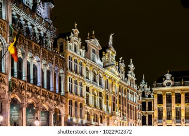 BRUSSELS, BELGIUM – FEBRUARY 6, 2017: Grand Place buildings at night. Grand Place is the central square of Brussels capital city, surrounded by opulent guildhalls.