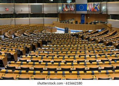 Brussels, Belgium - February 6, 2017: empty European Parliament Assembly Room. The European Parliament (EP) is the directly elected parliamentary institution of the European Union (EU)