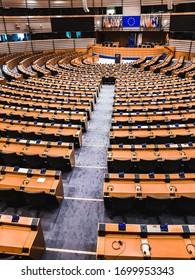 BRUSSELS, BELGIUM - FEBRUARY 6 2020: Inside of the European Parliament empty of people in Brussels, Belgium.