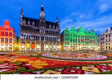 Brussels, Belgium. Grand Place during 2018 Flower Carpet festival. This year theme was Mexico.