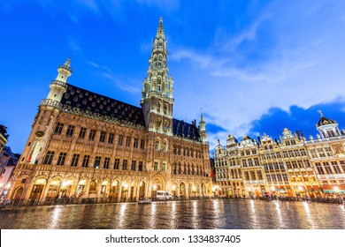 Brussels, Belgium. Grand Place. Market square surrounded by guild halls.