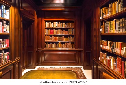 BRUSSELS, BELGIUM: Inside old room with books on bookshelves with paper volumes and antique wooden furniture of the Royal Library on April 2, 2018. More than 1,200,000 people lives in Brussels
