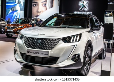 Brussels, Belgium, Jan 09, 2020: metallic white all-new all-electric Peugeot e-2008 GT Line II at Brussels Motor Show, eCMP platform, second generation, e2008 SUV car produced by Peugeot