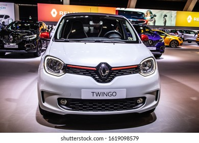 Brussels, Belgium, Jan 09, 2020: Renault Twingo at Brussels Motor Show, third generation, MK3, rear-engine, rear-wheel-drive four passenger city car produced by Renault