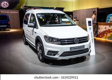 Brussels, Belgium, Jan 09, 2020: Volkswagen VW Caddy Alltrack at Brussels Motor Show, Third generation facelift, Typ 2K, leisure activity vehicle (M-segment) produced by Volkswagen Group