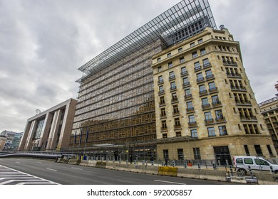 Brussels, Belgium - Jan 12, 2017:  Europa Building in Brussels, Belgium.The Europa building becomes the home of  the Council of the European Union and the European Council from 2017.