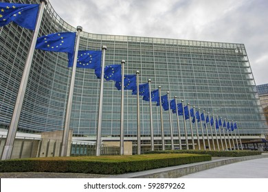 BRUSSELS, BELGIUM - Jan 12, 2017:The Berlaymont is an office building that houses the headquarters of the European Commission, which is the executive of the EU.