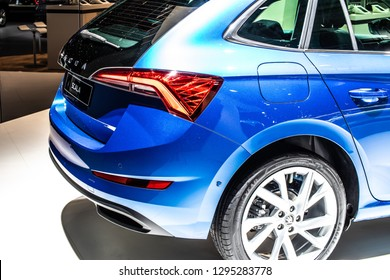 Brussels, Belgium, Jan 18, 2019: metallic blue all new Skoda Scala at Brussels Motor Show, Skoda Scala is small family car based on the concept Vision RS of Czech automaker Skoda Auto