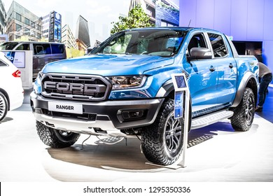 Brussels, Belgium, Jan 18, 2019: metallic blue Ford Ranger Raptor pickup truck at Brussels Motor Show, produced by American multinational automaker Ford Motor Company