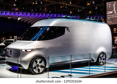 Brussels, Belgium, Jan 18, 2019: Show car: Mercedes-Benz Concept VAN prototype at Brussels Motor Show, Electric Future Van Cargo Carrier produced by Mercedes Benz