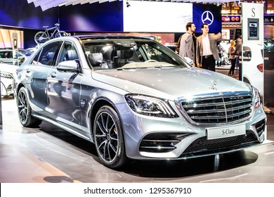 Brussels, Belgium, Jan 18, 2019: metallic silver Mercedes Benz S 560e sedan limousine at Brussels Motor Show, s-class car produced by Mercedes-Benz