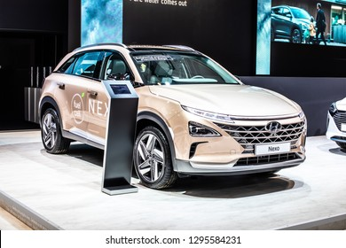 Brussels, Belgium, Jan 18, 2019: Hyundai Nexo is Hydrogen Fuel Cell powered crossover SUV at Brussels Motor Show, The Nexo has driving range of 800km, car produced by Hyundai