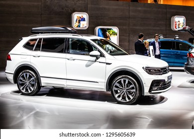 Brussels, Belgium, Jan 18, 2019: metallic white Volkswagen VW Tiguan Allspace 2.0 TDI at Brussels Motor Show, Second generation, MQB platform, LWB, Long Wheel Base, produced by Volkswagen Group