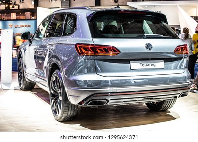 Brussels, Belgium, Jan 18, 2019: metallic silver all new Volkswagen VW Touareg at Brussels Motor Show, Third generation, MLB platform, mid-size luxury crossover SUV produced by Volkswagen Group