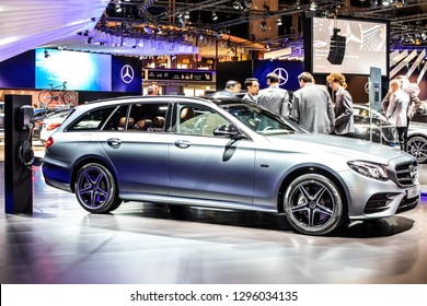 Brussels, Belgium, Jan 18, 2019: Mercedes-Benz E 300 DE Plug-In Hybrid Break EQ Power combi, station wagon at Brussels Motor Show, E-Class car produced by Mercedes-Benz