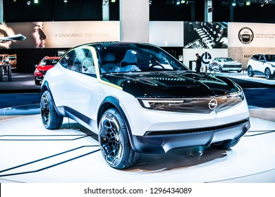 Brussels, Belgium, Jan 18, 2019: show auto: OPEL GT X Experimental concept car, prototype at Brussels Motor Show, represents Opel's vision for the future