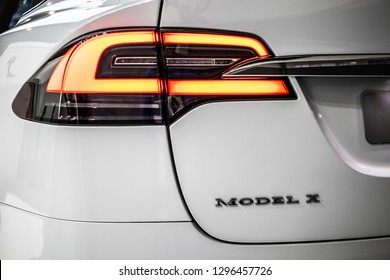 Brussels, Belgium, Jan 18, 2019: metallic white Tesla Model X at Brussels Motor Show, produced by American automaker Tesla, main shareholder Elon Musk