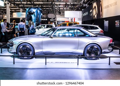 Brussels, Belgium, Jan 18, 2019: all-new Peugeot e-Legend Concept, electric sports car, advanced autonomous features styled on 504 coupe at Brussels Motor Show - prototype created by Peugeot