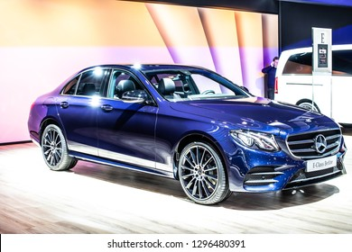 Brussels, Belgium, Jan 18, 2019: metallic blue Mercedes Benz E 200 D Berline Sedan Limousine Sport Edition at Brussels Motor Show, E-Class car produced by Mercedes-Benz