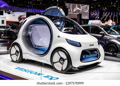 Brussels, Belgium, Jan 18, 2019: Show car: Smart Vision EQ fortwo Mercedes-Benz concept at Brussels Motor Show, prototype of future car created by Mercedes Benz, Hi Shutterstock on display