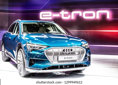 Brussels, Belgium, Jan 18, 2019: metallic blue electric Audi e-tron 55 quattro SUV with high voltage battery and electric engine motor at Brussels Motor Show, produced by Audi AG
