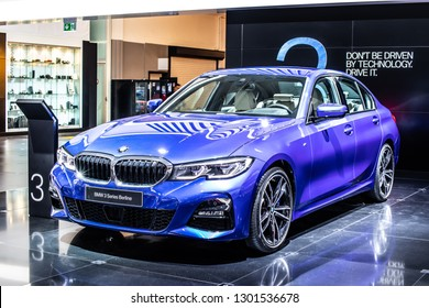 Brussels, Belgium, Jan 18, 2019: metallic blue all new BMW 3 Series Sedan Berline 330i at Brussels Motor Show, Seventh generation, G20, manufactured and marketed by BMW