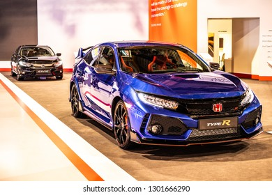 Brussels, Belgium, Jan 18, 2019: metallic blue Honda New CIVIC Type-R at Brussels Motor Show, Tenth generation Civic, MK5 Type-R, FK8 chassis, car manufactured by Honda