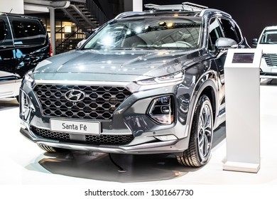 Brussels, Belgium, Jan 18, 2019: Hyundai Santa Fe 4WD at Brussels Motor Show, Fourth generation, TM, SUV produced by Hyundai Motor Company