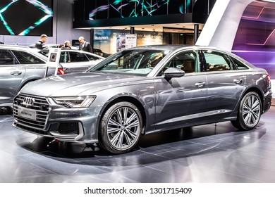 Brussels, Belgium, Jan 18, 2019: metallic graphite gray Audi A6 40 TDI Berline Sedan Limousine at Brussels Motor Show,  fifth generation A6, C8, produced by German automobile manufacturer Audi AG