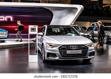 Brussels, Belgium, Jan 18, 2019: Audi A6 Avant 40 TDI quattro station wagon at Brussels Motor Show, fifth generation A6, C8, combi produced by Audi AG