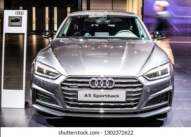 Brussels, Belgium, Jan 18, 2019: metallic silver gray Audi A5 Sportback 40 TDI quattro at Brussels Motor Show, Second generation, MLB Platform, B9, compact executive coupe car produced by Audi