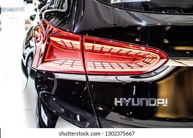 Brussels, Belgium, Jan 18, 2019: metallic black Hyundai Santa Fe 4WD at Brussels Motor Show, Fourth generation, SUV produced by Hyundai Motor Company