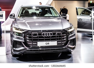 Brussels, Belgium, Jan 18, 2019: metallic silver all new Audi Q8 at Brussels Motor Show, SUV produced by German automobile manufacturer Audi AG