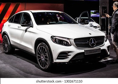 Brussels, Belgium, Jan 18, 2019: metallic white Mercedes-Benz GLC 250d 4Matic Coupe at Brussels Motor Show, SUV produced by Mercedes-Benz